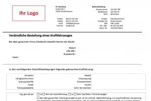 Kfz Kaufvertrag:Betellung Detailansicht Kopfbereich
