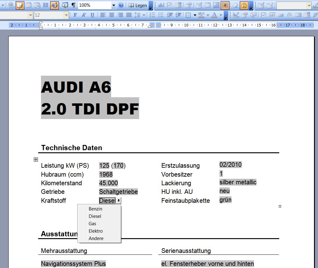 Gratis Kfz Preisschild Furs Auto Word Datei Autofreund24
