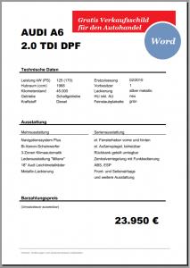 Verkaufsschild-Preisschild Auto Kfz