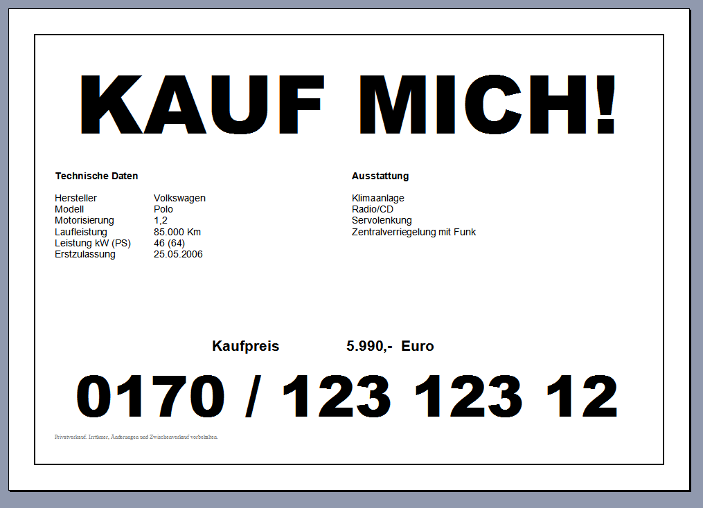 Gratis: Kfz Preisschild fürs Auto (Word Datei) | Autofreund24