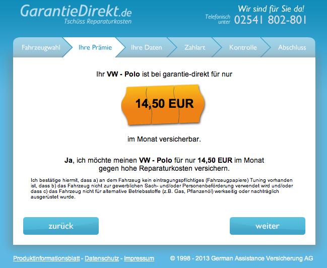 Prämie VW Polo Beispiel Garantie Privatkauf