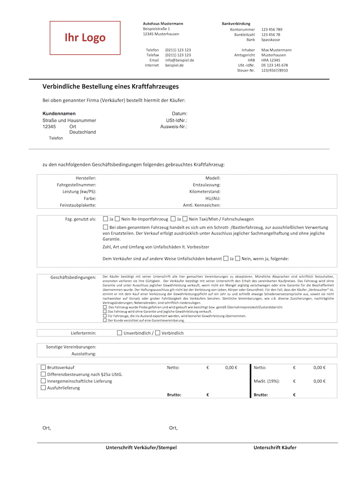 kaufvertrag bzw bestellung kfz muster - Kaufvertrag Kfz Muster